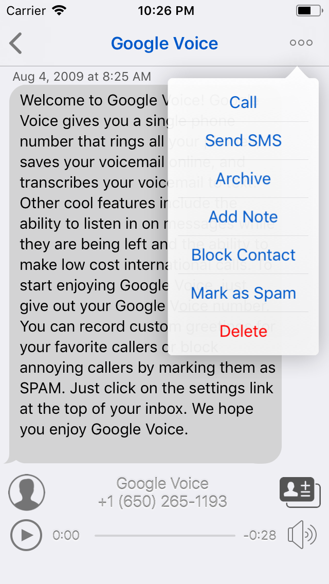Voicemail detail view